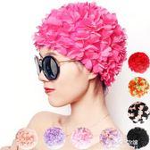 泳帽女長發成人時尚可愛加大護發女泳帽溫泉立體花瓣花朵泳帽布料  朵拉朵衣櫥