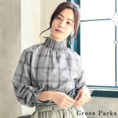 ❖ Hot item ❖ 復古格紋縮袖高領上衣 - Green Parks