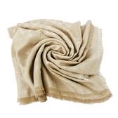 【COACH】C LOGO 棉混莫代爾流蘇圍巾方巾禮盒(膚金)