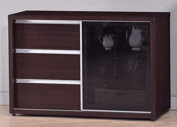 【森可家居】羽田4尺胡桃鋁框推門餐櫃(下座) 7JX216-4 收納廚房櫃 碗盤碟櫃