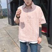 夏季新款2018男士港風修身條紋襯衫寸衫韓版潮流學生帥氣短袖襯衣  巴黎街頭