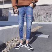韓版潮流新款牛仔9分褲男 ☸mousika