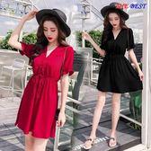 洋裝連身裙 女裝裙子 法式 復古 矮個子 高腰 氣質 流行 連身裙