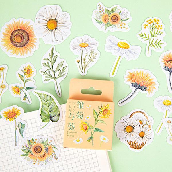【BlueCat】雛菊與葵盒裝貼紙 手帳貼紙 (46入)