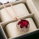 飾品玫瑰花吊墜裝飾項鍊女衣服掛件毛衣長款百搭配飾掛飾潮