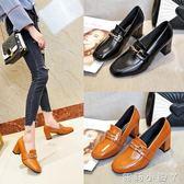 牛津鞋百搭秋季高跟鞋女新款黑色中跟粗跟女士皮鞋休閒工作單鞋 蘿莉小腳ㄚ