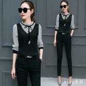 兩件套裝 女新款韓版時尚中大尺碼顯瘦長袖雪紡襯衫兩件套OL氣質職業裝 js13591『miss洛羽』