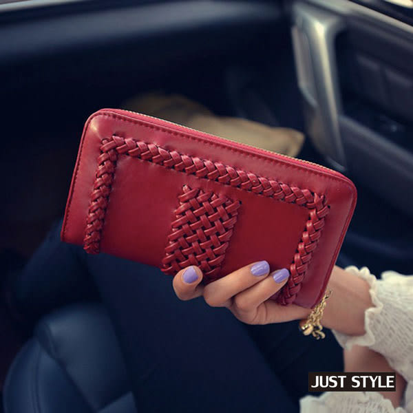 皮夾【JS精心苑】韓版編織拉鏈錢包時尚女士長款單拉手拿包零錢包長夾
