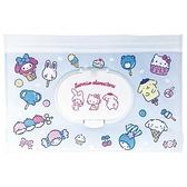 小禮堂 Sanrio大集合 防水濕紙巾包夾鏈袋 抽取式收納袋 濕巾包 面紙包 (L 藍) 4522654-11374