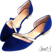 Ann'S名媛氣質-金色斜帶側空尖頭鞋 藍
