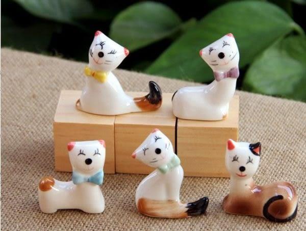 現貨- 創意廚房雜貨 日式可愛陶瓷招財貓咪筷架 貓咪擺件