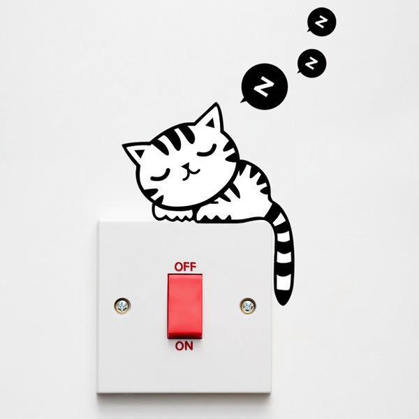壁貼 睡覺的貓 開關貼 無痕壁貼 壁紙 牆貼 室內設計 裝潢【SF0962】Loxin