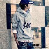 ManStyle潮流嚴選。韓版連帽長袖T恤上衣巴黎鐵塔PARIS印花【09B0201】