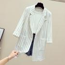 棉麻西裝 中長西裝外套女士夏季薄款棉麻亞麻休閒大碼中袖垂感條紋西服-Ballet朵朵