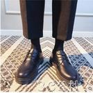 男士皮鞋 男鞋休閑商務正裝黑色小皮鞋大頭鞋韓版圓頭馬丁靴棉鞋西裝男 快速出貨