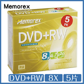 Memorex 8X DVD+RW 4.7GB 5片 光碟 DVD