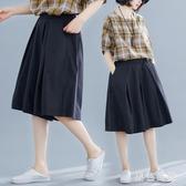 棉麻寬褲女2020新款夏裝寬鬆大碼女褲顯瘦褲裙胖mm百搭五分褲 LF5354『黑色妹妹』
