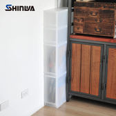 【nicegoods】日本製 Shinwa伸和 滑輪抽屜隙縫櫃(2低2高抽)-17CM寬