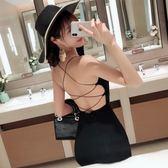 酒吧女新款主播夜店性感露背綁帶黑色緊身包臀吊帶洋裝 錢夫人小鋪