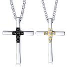 《 QBOX 》FASHION 飾品【C19N1586】精緻個性簡約情侶十字架鑲鑽鈦鋼對墬子項鍊