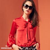 【SHOWCASE】名媛綁帶領結蕾絲袖雪雪紡襯衫(紅)