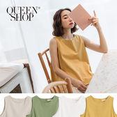 Queen Shop【01150146】後釦設計麻棉無袖上衣 四色售*現+預*