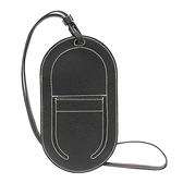 HERMES 愛馬仕 89 Noir 黑色山羊皮白色縫線項鍊式手機袋 D刻 In-the-Loop Phone
