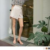 《BA6294》純色高腰後鬆緊綁帶不對稱褲裙 OrangeBear