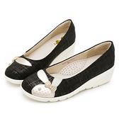 PLAYBOY 典雅氣質 亮蔥紋增高娃娃鞋-黑(Y6779)