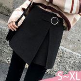 褲裙-S-XL優雅氣質高腰圓環繫帶純色開叉時尚毛呢褲裙Kiwi Shop奇異果0920【SZZ9804】