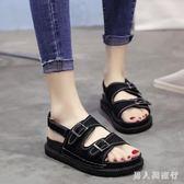 夏季韓版平底外穿沙灘鞋子百搭學生原宿松糕羅馬鞋 DR16671【男人與流行】