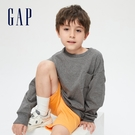 Gap男童 舒適純棉圓領長袖T恤 661665-灰色