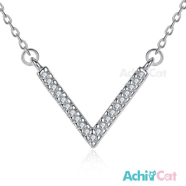 925純銀項鍊 AchiCat 純銀飾 幸運女神 V字鍊 鎖骨鍊 簡約