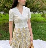 晚時光2021新款夏少女法式溫柔復古白色泡泡袖短款珍珠扣襯衫上衣9 幸福第一站