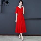 雪紡洋裝 2020媽媽裝純色百搭時尚氣質大碼女裝收腰遮肚減齡雪紡連身裙 JX659『東京衣社』