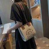 水桶包 可愛小包包女新款韓版夏天斜挎水桶包休閑帆布單肩鏈條包chic 伊芙莎