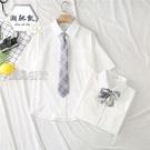 女童襯衫兒童新款JK制服襯衫女短袖白色上衣學生學院風領帶蝴蝶結襯衣女潮 快速出貨