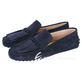 TOD'S Gommino 流蘇麂皮豆豆休閒鞋(女鞋/夜藍色) 1620268-34