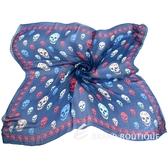 Alexander McQueen Skull 配色骷髏印花絲質披肩(藍色) 1620570-23