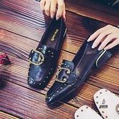 粗跟方頭單鞋女豆豆鞋軟皮百搭英倫風小皮鞋【愛物及屋】