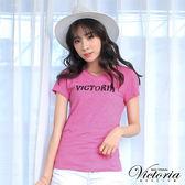 Victoria 亮片繡LOGO基本短袖T-女-桃粉
