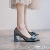 法式高跟鞋2021新款春季女鞋氣質單鞋女淺口尖頭名媛風粗跟仙女鞋 范思蓮恩