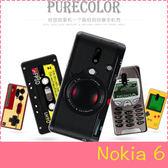 【萌萌噠】諾基亞 Nokia 6 (5.5吋)   復古偽裝保護套 PC硬殼 懷舊彩繪 計算機 鍵盤 錄音帶 手機殼