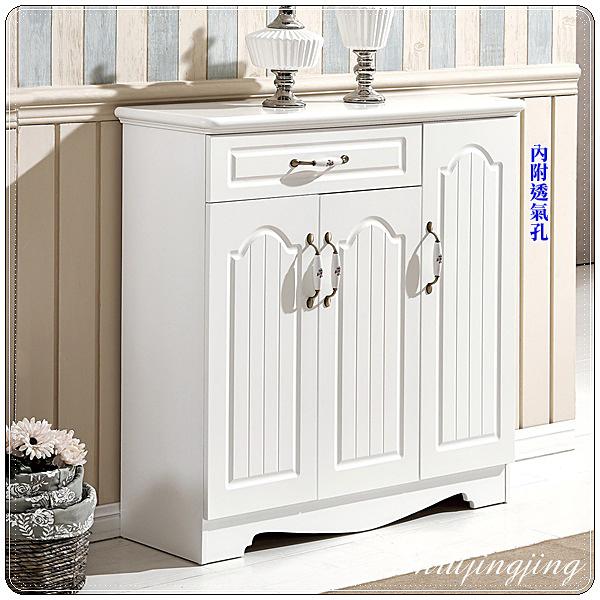 【水晶晶家具/傢俱首選】JF0758-1蕾拉100×100cm烤白歐式單抽三門鞋櫃