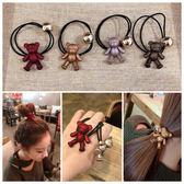 韓國正版髮飾 超萌小熊金珠彈力皮筋 百搭髮繩成人丸子頭頭繩   初語生活