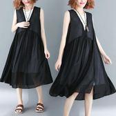 原創文藝復古實拍夏季新款背心裙假2件套寬松大擺中長款背心連衣裙7271(N715)