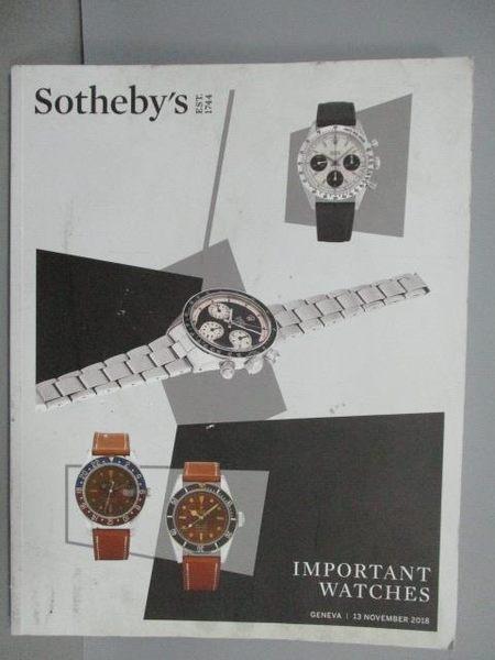 【書寶二手書T9/收藏_PCU】Sotheby s_Important Watches_2018/11/13