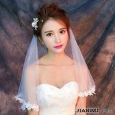 好康618 瓣新娘結婚白色頭紗韓式簡約婚紗配飾品