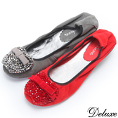 【Deluxe】全真皮蘋果串珠蝴蝶結小厚底娃娃鞋(灰☆紅)