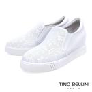 Tino Bellini 真皮壓紋佐細緻花雕圖騰內增高休閒鞋_ 白 B83252